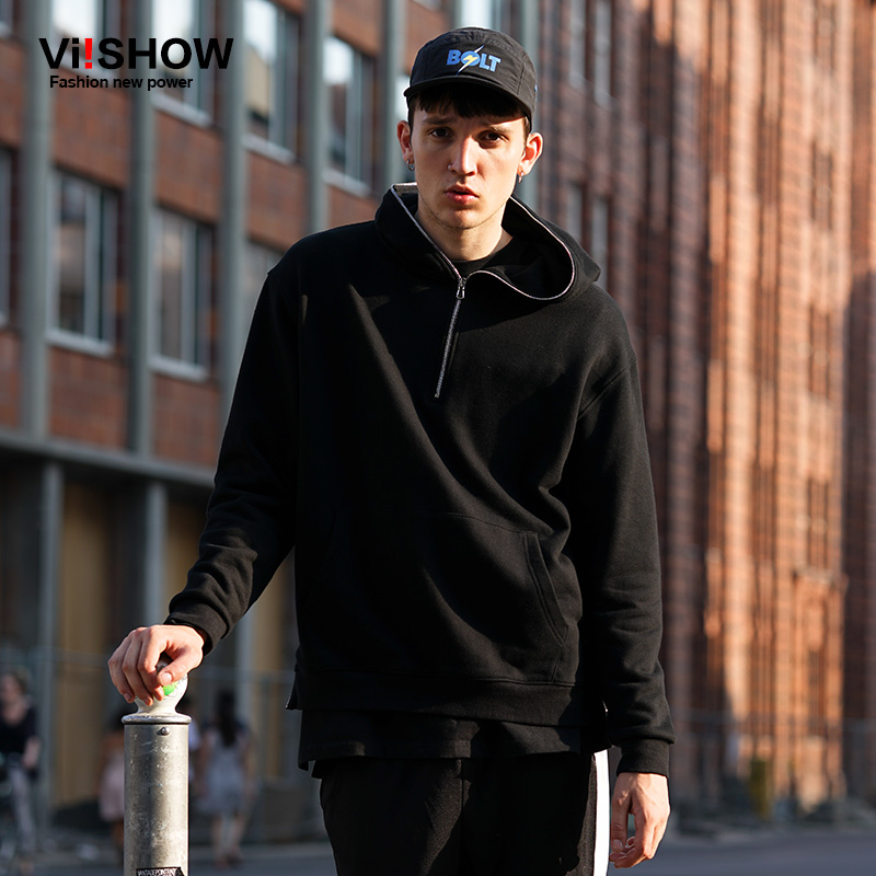 VIISHOW Mens Hoodies Casual Pullover Men Casual Sweatshirts Hip Hop Black Rock Hooded Sweatshirt Zipper Design