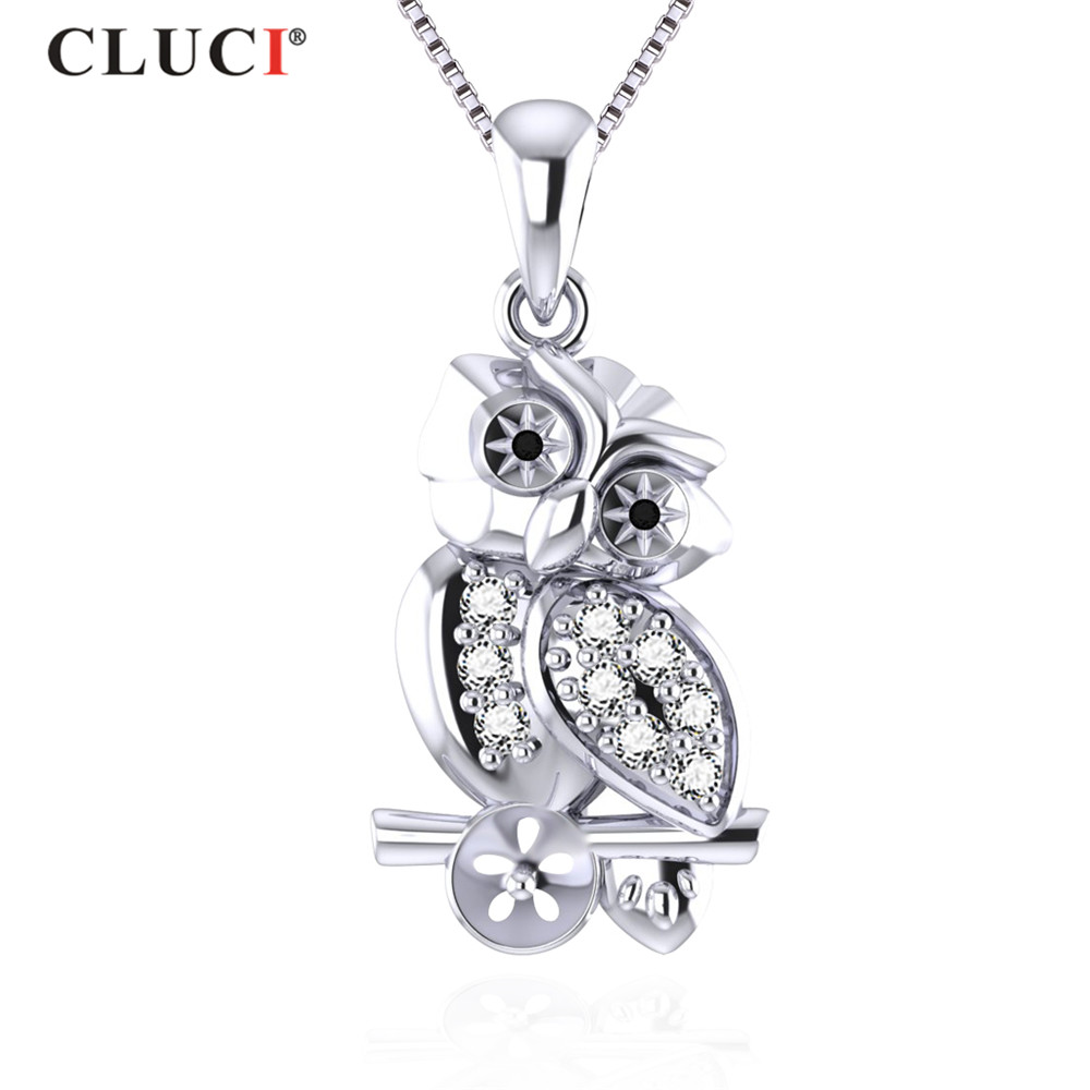 CLUCI 100% 925 Sterling Silver Cute Owl Animal Black & White CZ Can Stick 7mm Pearl For Girls Jewelry