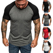 HEFLASHOR Summer mens patchwork short t shirt slim sports jogger Basic top tee Raglan sleeve plus size t shirt camiseta hombre(China)