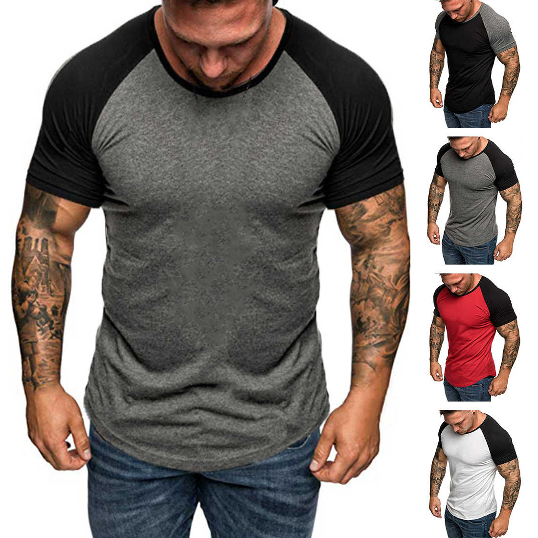 HEFLASHOR Summer mens patchwork short t shirt slim sports   top tee Raglan sleeve plus size t shirt camiseta hombre