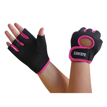 HOWO High Qulity Men Womens Sports Fitness Exercise Gloves Workout Weight Lifting Gym Mittens black+rose red