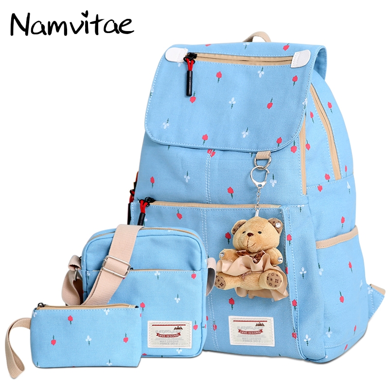 Namvitae 3 Pcs Set Canvas Women Backpack Fashion Floral Student Backpacks For Teenage Girls