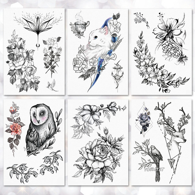 2f222d38d Line cats roses flowers Pattern Temporary Tattoo Stickers Waterproof Women  Fake Hand Tattoos Adult Men Body Art