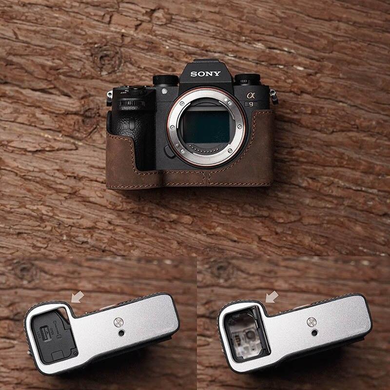 M. Stone fait à la main en cuir véritable étui pour appareil photo demi-sac pour Sony A9 A7 III A7 Mark III ouverture de batterie