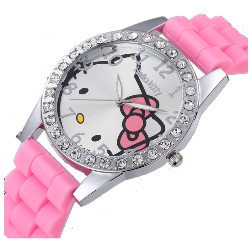 2019 Rhinestone Children Watch Cute Cartoon Enfant Ceasuri Kid Quartz Wrist Watch Hodinky Relogio Silicone Cat Girl Women Saats