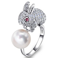 BELLA Fashion Real Pure 925 Sterling Silver Rabbit Ring Cubic Zircon 10MM Ivory 100 Natural Pearl