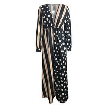 цена на Womens Spring Long Sleeves Empire High Waist Maxi Blouse Dress Plunging Deep V-Neck Polka Dot Vertical Stripes Patchwork Pullove
