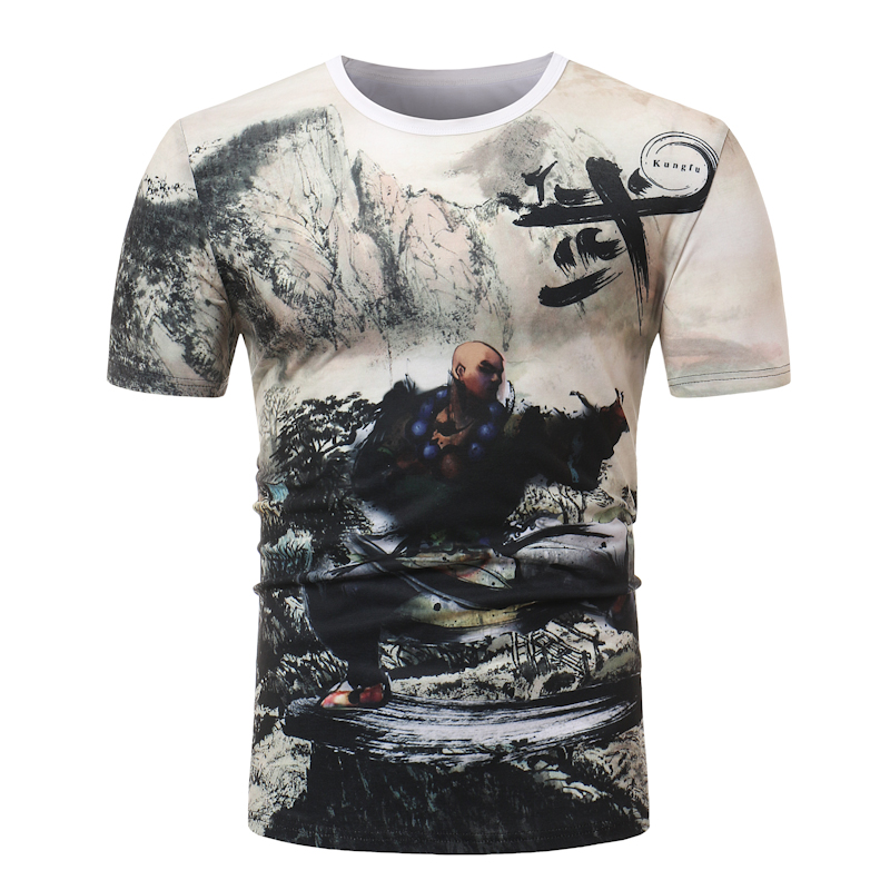 100% Cotton Shaolin Kung Fu printing T Shirt 2018 Mens T-shirts Summer Skateboard Tee Boy Hip hop Skate T-shirt Tops