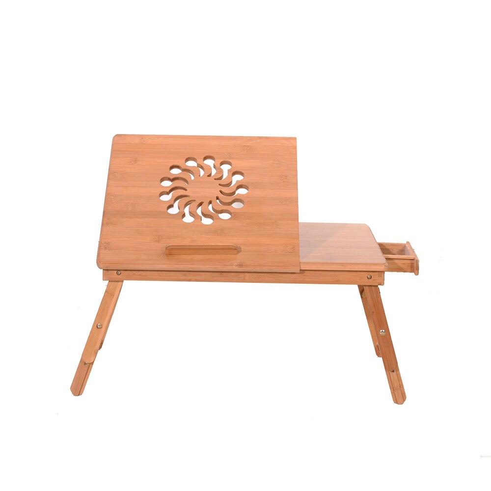 53 Cm Tragbare Faltbare Sonnenblumen Gravur Muster Einstellbar Bambus Computer Bett Schreibtisch Sandale Holz Pc Ständer Notebook Tisch Farbe Mit Dem Besten Service
