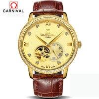 CARNIVAL Skeleton mens watches top brand luxury automatic mechanical watch sport waterproof black business belt watch Tourbillon
