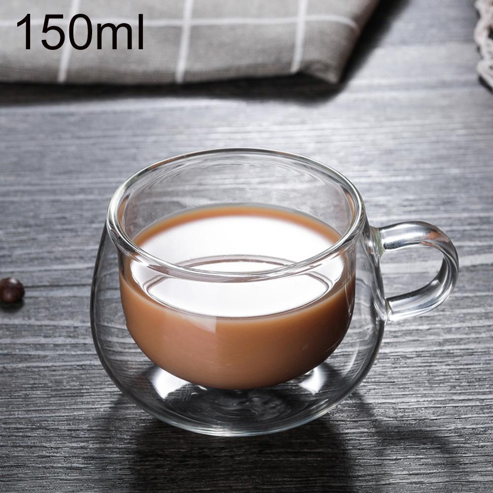 Новинка 150 мл двухслойная термостойкая стеклянная чашка для чая, кофе, молока, питья, термостойкая кружка с ручкой для напитков|Кружки|   | АлиЭкспресс