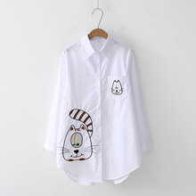 NEW White Cat Embroidery Blouse Sale Shirt Casual Wear Button Up Turn Down Collar Long Sleeve Cotton Blouse Embroidery Top Sale