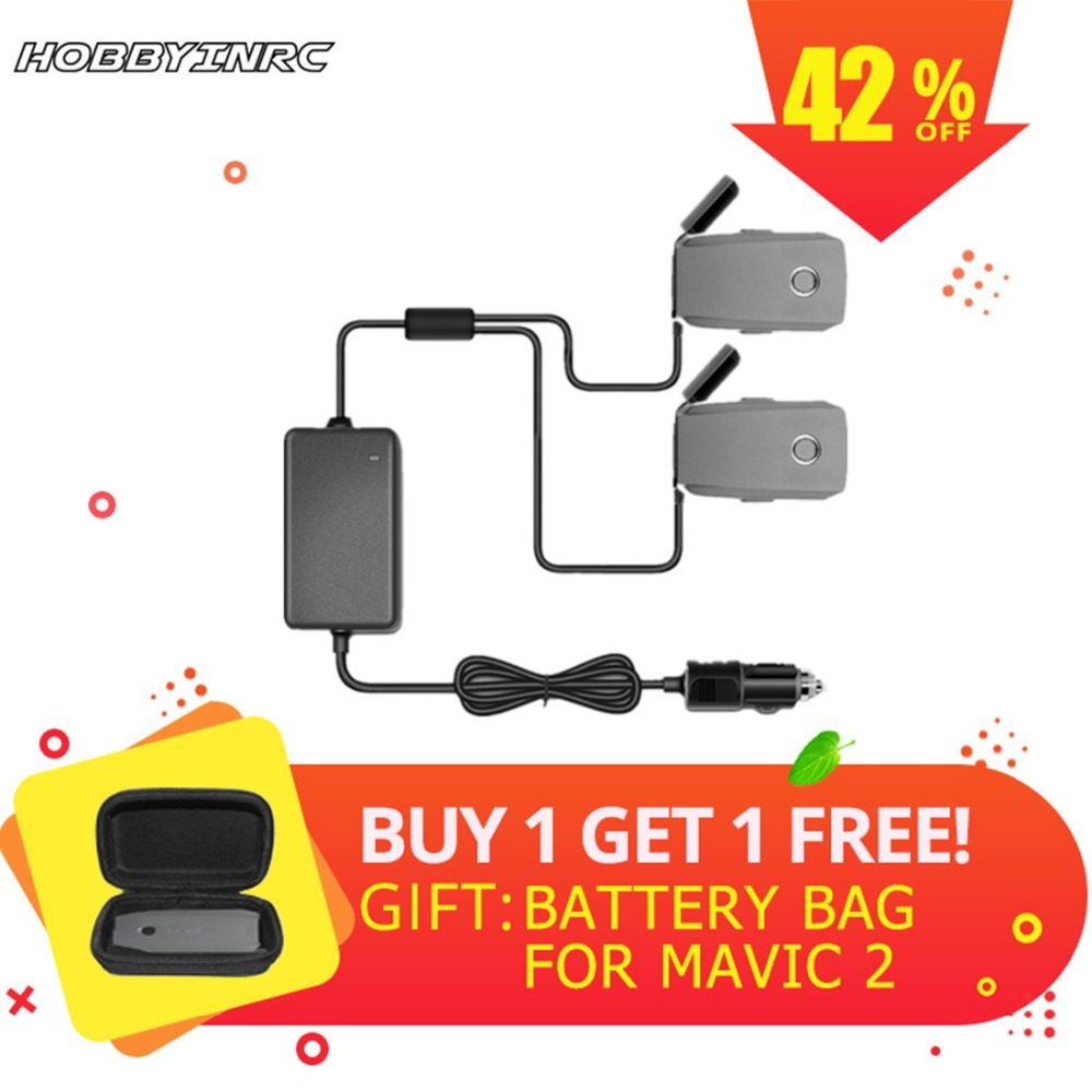Buy 1 Get 1 Free 2 in 1 Vehicle-mounted Charging Charger Car Charger for DJI Mavic 2 Zoom/ Mavic 2 Pro Drone Flight Batteries image