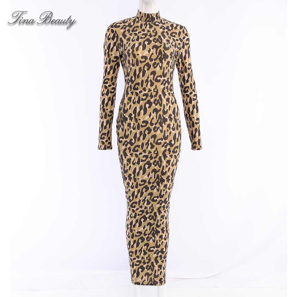 Long Sleeve Leopard Print Maxi Dress