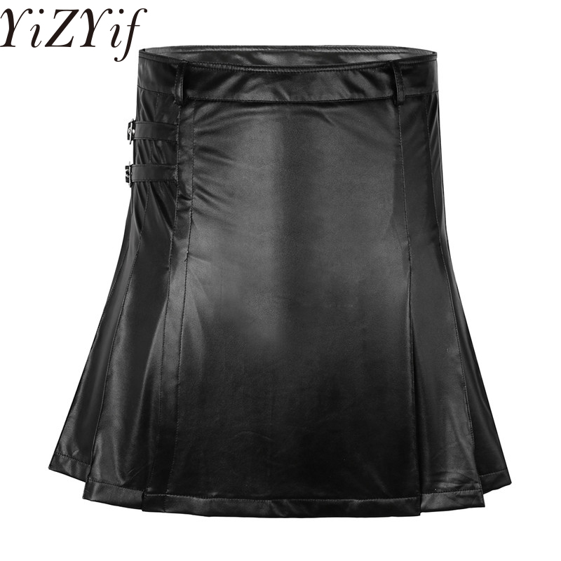 2018 Mens Gladiator Style Utility Kilt Wetlook Pleated Split Wrap Men's Black Scottish Skirt For Cosplay Costume Party Club Wear