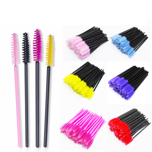 QSTY 50Pcs Eyelash Brushes Makeup Brushes Disposable Mascara Wands Applicator Spoolers Eye Lashes Cosmetic Brush Makeup Tools
