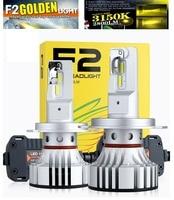 2PCS H4 F2 3000K Golden Yellow LED Headlight H7 H8 H9 H11 9005 9006 9012 HB3/4 HIR2 72W 12000LM CSP Chips Foggy Snowy Rainy & 6K