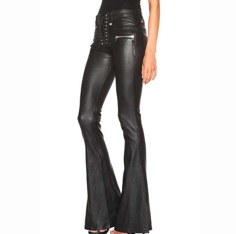 Pantalon en cuir à jambe large punk coupe-vent pour femme pantalon évasé pour femme pantalon fashion! XS-XL livraison gratuite