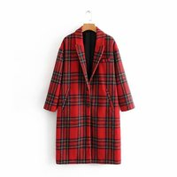 Women Red Plaid Long Woolen Coat Thick Warm Winter Checkered Long Sleeve Turn Down Collar Loose Straight Jacket abrigo de mujer