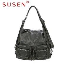 SUSEN 866 Women Hobos Shoulder bag Soft washed PU leather bag adjustable strap fashion lady bag