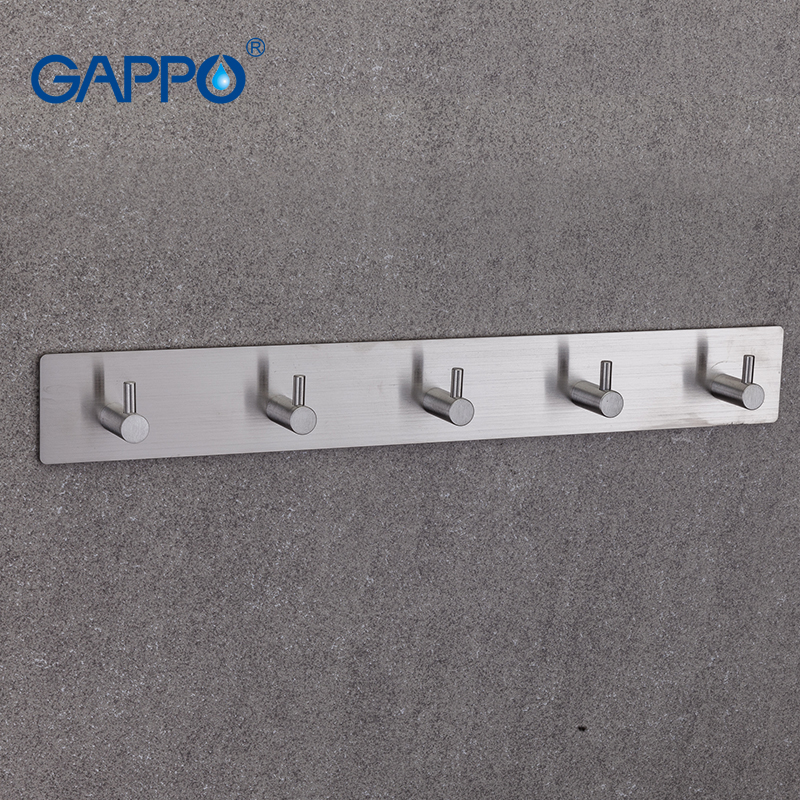 GAPPO Robe Hooks 5 clothes hook stainless steel Hooks Wall mount Tower Holder Bathroom Towel Hanger xueqin stainless steel 4 hooks coat hat clothes robe holder bathroom rack hooks wall hanger wall mounted bathroom accessories