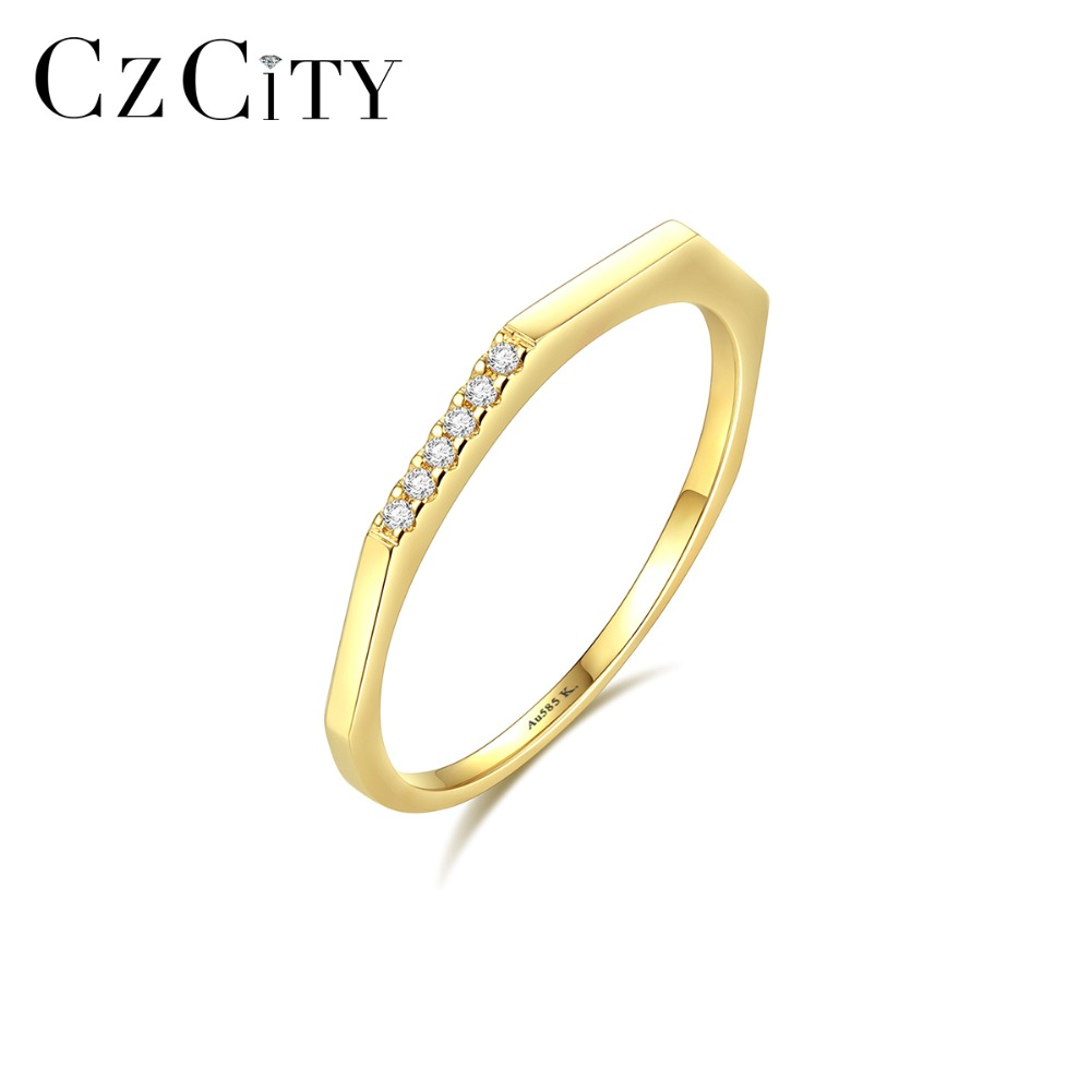 CZCITY Trendy 14K Gold Wedding Rings for Women with Tiny Zircon Thin Round Male Female Rings Yellow Gold Jewelry Carving Au585CZCITY Trendy 14K Gold Wedding Rings for Women with Tiny Zircon Thin Round Male Female Rings Yellow Gold Jewelry Carving Au585