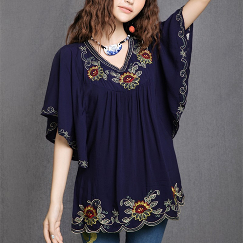 Floral Embroidered Maternity Blouse Vintage Summer Plus Size