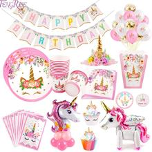 FENGRISE Unicorn Party Baby Shower Girl Unicornio Fiesta Birthday Decoration Supplies Gifts Kids