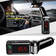 цена на Car Kit Mini Radio Transmitter Mp3 Player Bluetooth Handsfree  with Dual USB Aux Input for iPhone X 8 8P 7 6 Smart Fm