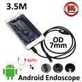 3.5 m micro usb telefone android borescope inspeção endoscópio câmera de 7mm micro usb à prova d' água câmera pinhole 6led usb otg android