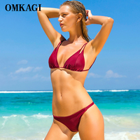 OMKAGI Brand Sexy Micro Swimwear Swimsuit Women Bikini Set Push Up Swim Wear Swim Suit Bathing
