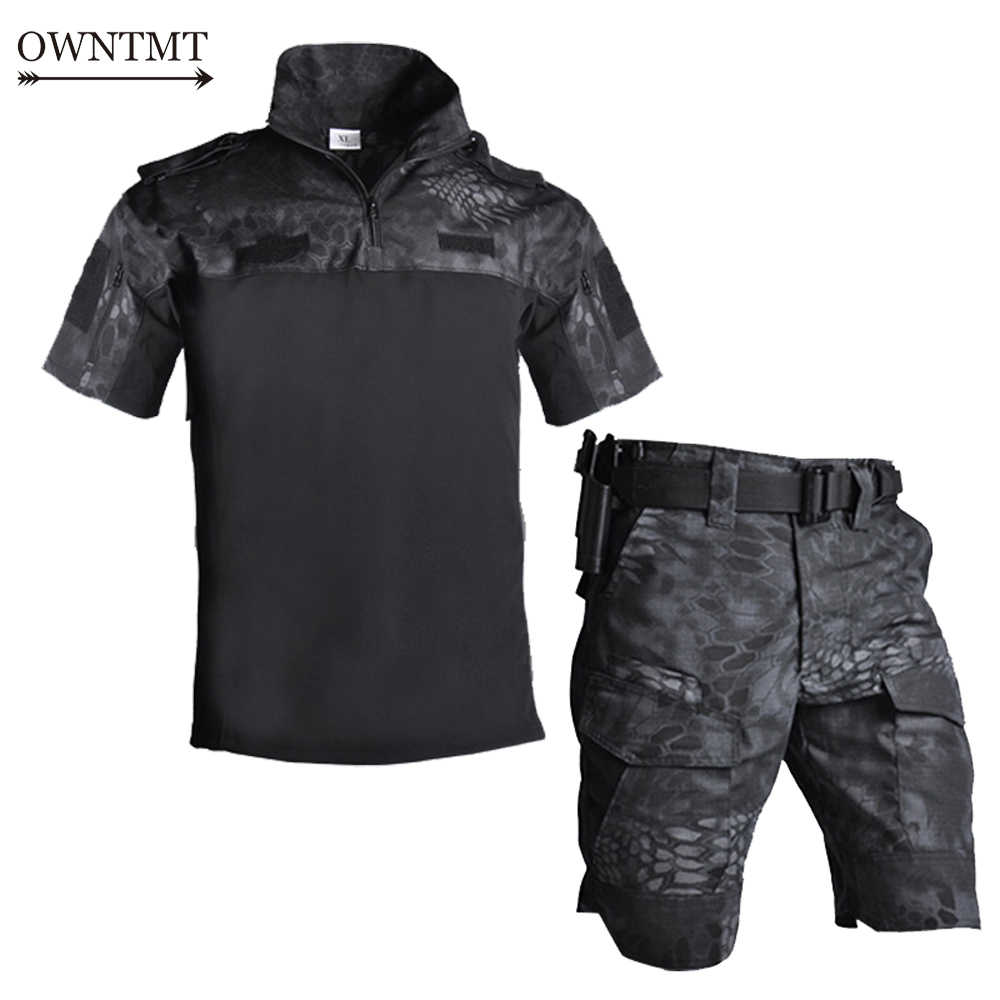 Multicam Cp Militaire Uniform Camouflage Pak Tatico Militaire Airsoft Paintball Apparatuur Zomer Outdoor Tactische Shirt Korte Set