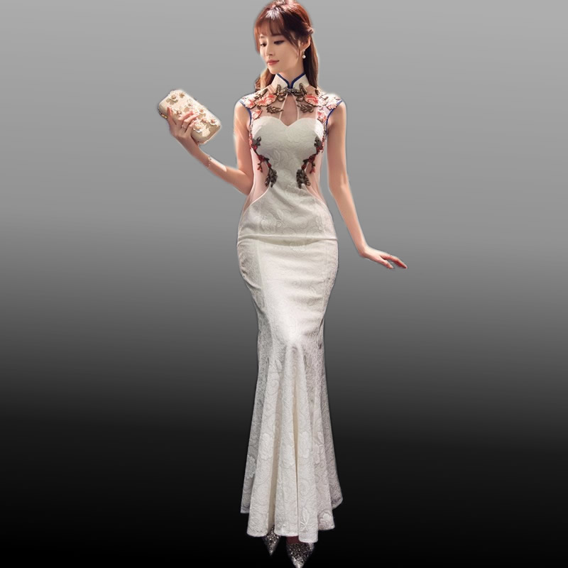 2017 New Traditional Chinese Modern Cheongsam White Lace Embroidery Qipao Wedding Dress Women Qi Pao Oriental
