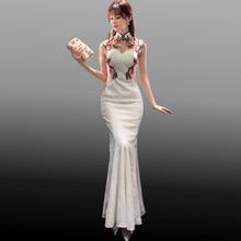 Новинка 2017 года Традиционный китайский современный Cheongsam белый Кружево Вышивка Qipao свадебное платье Для женщин QI Pao Oriental Стиль Платья для женщин пикантные