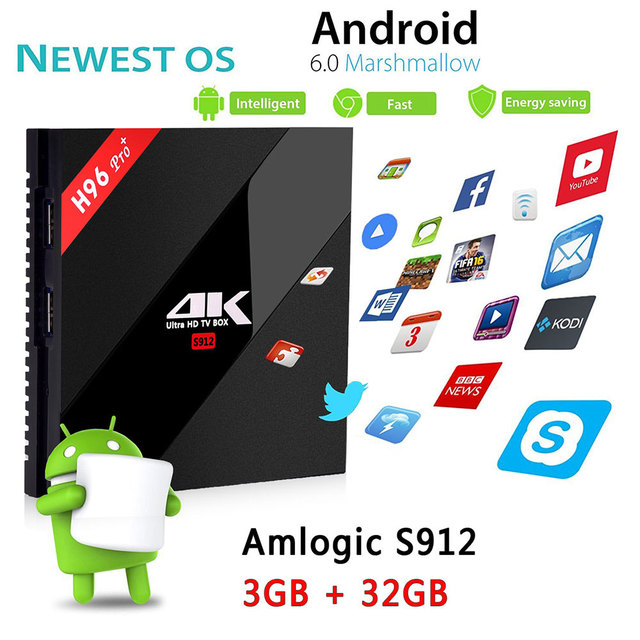 LESTOPON ( Android Tv Box ) Amlogic S912 3G/32G 16G 2.4G/5.8G Wifi 4K HDR 100/1000M LAN BT DLNA Miracast OS 7.1 Smart TV Box