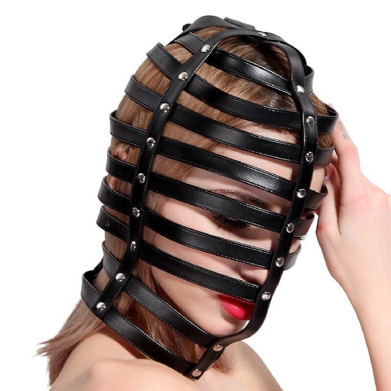 Голова Кожа жгут полиуретановая маска капюшон рот Даг БДСМ костюм фетиш бондаж регулируемый - Цвет: PG0163