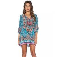 BOHOFREE 3XL 4XL 5XL Plus Größe Ethnische Gypsy Blumendruck Maxi kleid V-ausschnitt Quaste Halben Hülse Retro Vestidos Mujer Urlaub Kleid