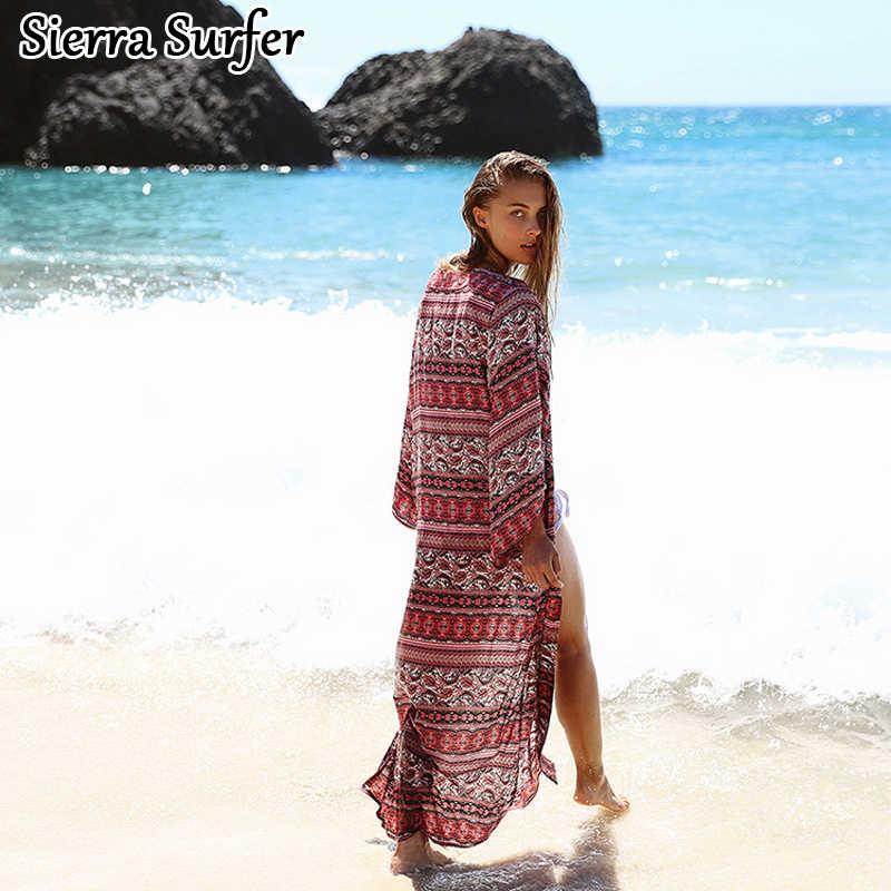 8450e1de52 ... Pareo Beach Dress Kaftan Swimwear Cover Up Women 2019 Summer Rayon  Plavky Coverups Cangas De Praia ...