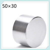 Free Shipping 1pcs N52 Neodymium Magnet 50x30mm Round Strong Powerful Magnet Rare Earth NdFeB Magnets 50
