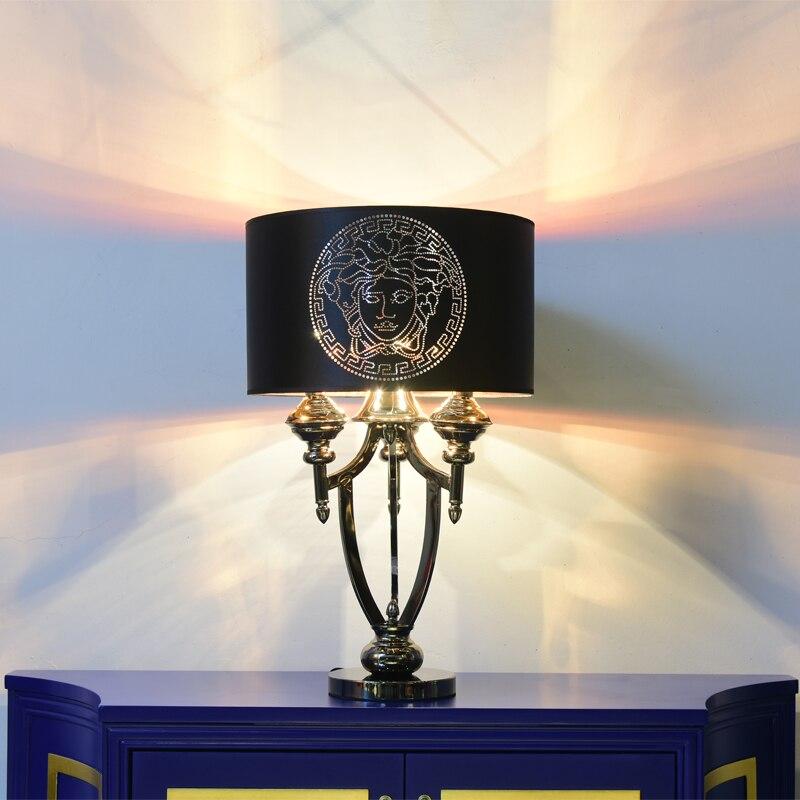 Постмодернистского Американский E14 настольной лампе De абажур блеск светодио дный Современная роскошь Luminaria классический стоя лампа настол