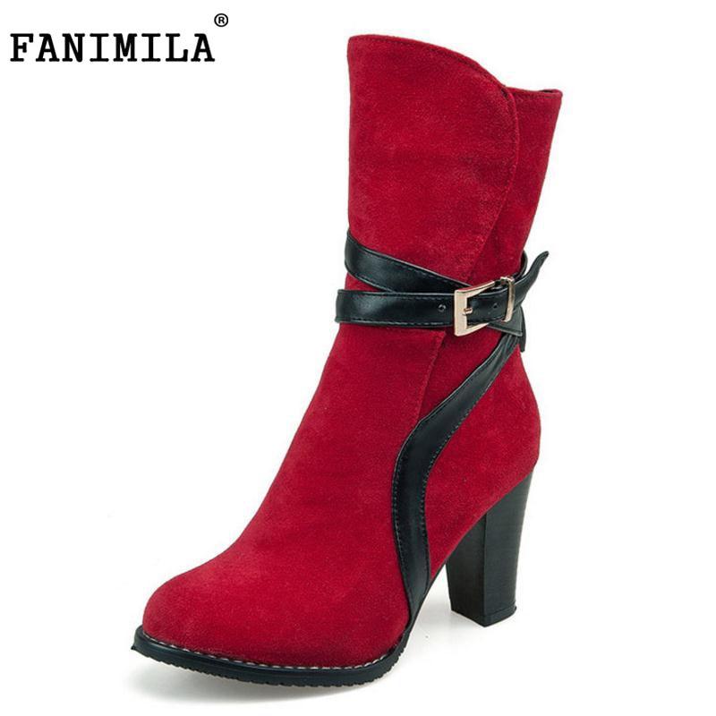 FANIMILA big size 30-48 women high heel mid calf boots buckle sexy half short boot warm winter flock footwear heels shoes P22119 fashionable women s mid calf boots with low heel and double buckle design