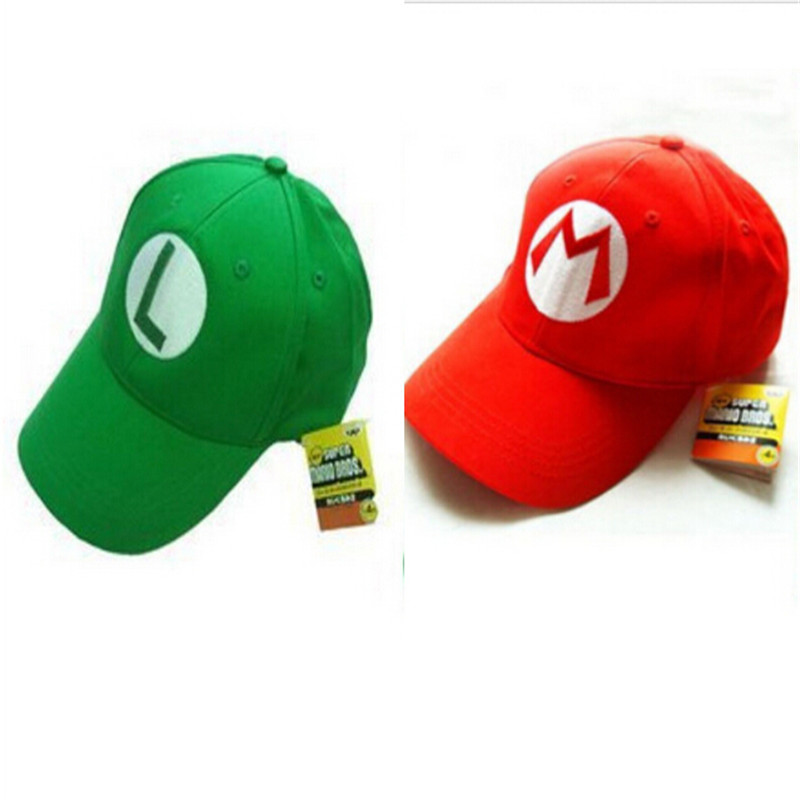 2016 Super Mario Cotton Caps hat Red Mario and luigi cap 5 colors Anime Cosplay Halloween Costume Buckle Hats Adult Hats Caps