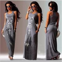 Cat Print Long Maxi Dress Women 2017 Summer Boho Beach Bodycon Dress Elegant Evening Party Dresses Tunic Vestidos S-XL 3