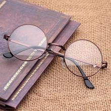 2019 Women Vintage Round Glasses Frame Female UV400 Plain Eyeglasses Eyewear Optical Metal Decorative