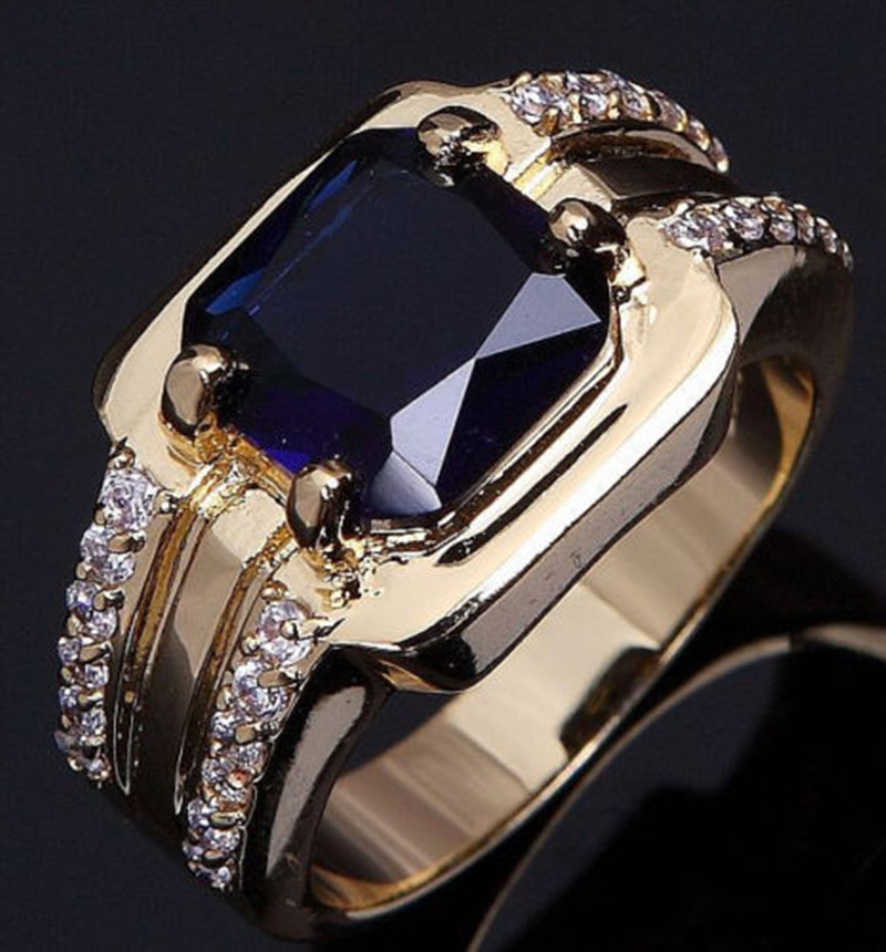 KUNIU New Arrival Fashion Jewelry Quartz Gold Ring Size 8