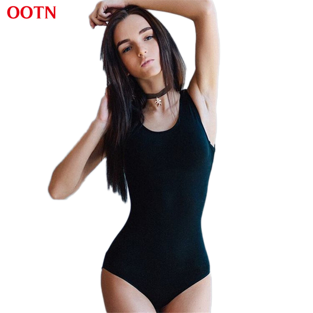 OOTN LTY013 Сексуальная Трикотажные Боди Женщины Твердые Черный Bodycon Эластичный Комбинезон Femme Общая 2017 Новый Летний Высокое Качество