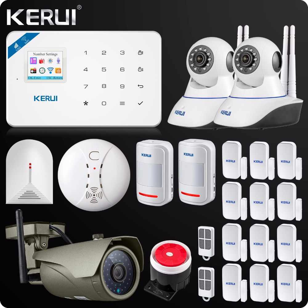 Kerui W18 WIFI GSM SMS Hause Einbrecher LCD GSM SMS Touch Screen Alarm Panel Home Security Alarm System IP Wifi kamera App Control