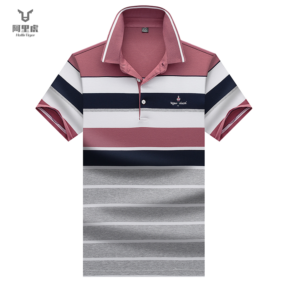EVES   polos   para hombre Business Office   Polo   Shirt Mens Shirts Men Clothing Striped Casual Cotton Breathable Poloshirt