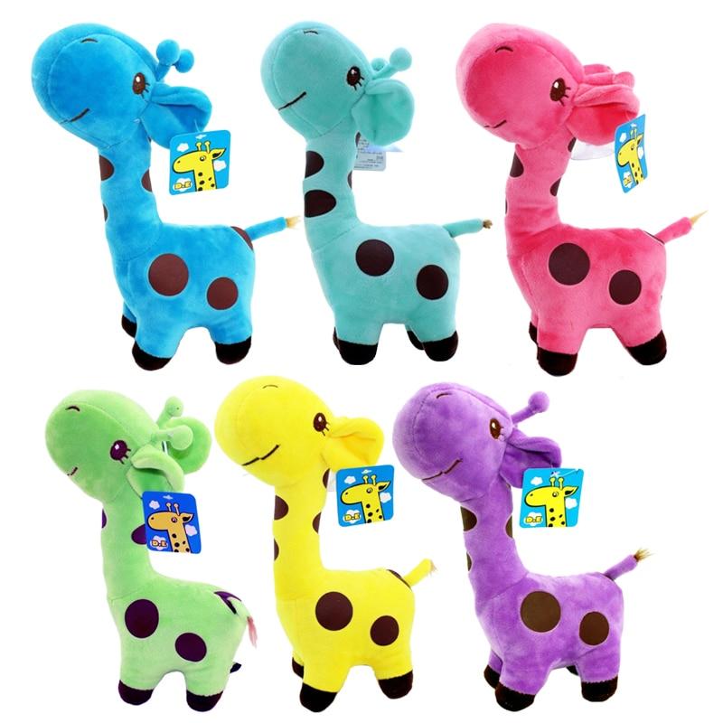 1ks 25 cm Roztomilé plyšové žirafy Měkké hračky Zvíře Dear Doll Baby Děti Děti Narozeniny Dárky 6 Barvy