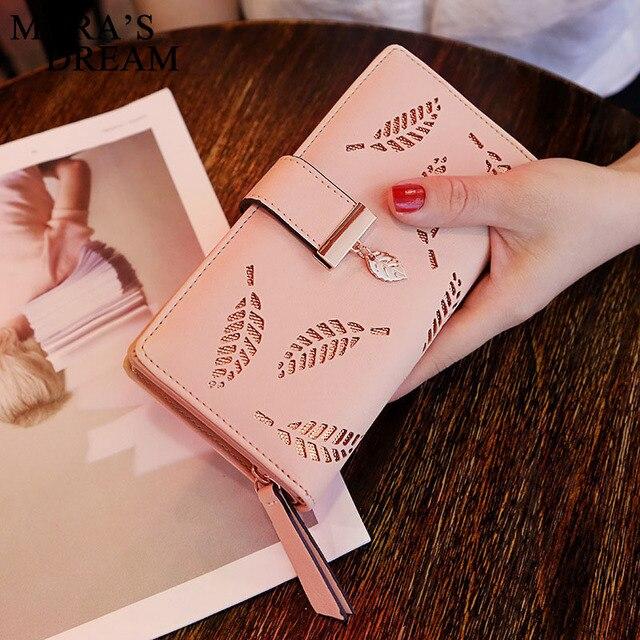 Mara's Dream 2019 Leaves Hollow Women's Wallet Soft PU Leather Women Bag Wallet Handbag Designer Wallets Coin Card Purse 2
